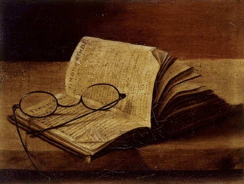 old books wit spectacles